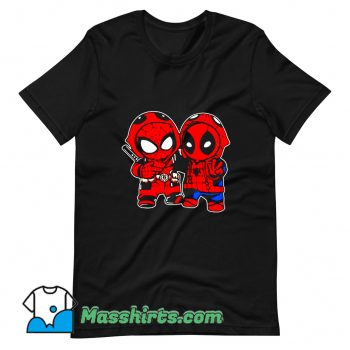 Cheap Baby Deadpool And Baby Spider Man T Shirt Design