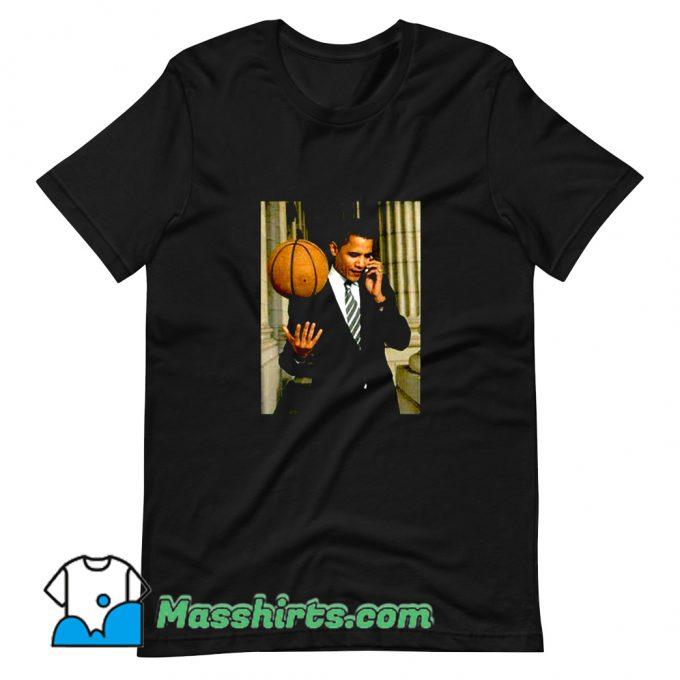 Barack Obama Playing Basketball T Shirt Design On Sale