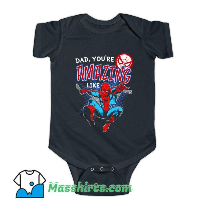 Father Day Spider Man Comic Baby Onesie