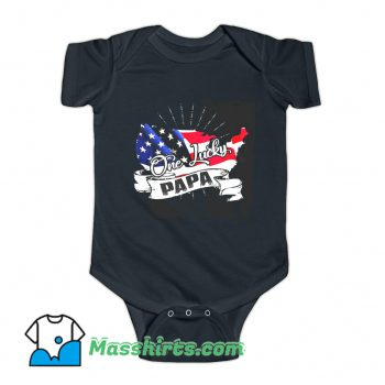 Father day One Lucky Papa Baby Onesie