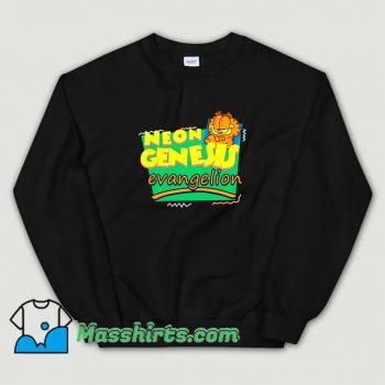 Neon Genesis Evangelion Meets Garfield Cartoon Sweatshirt