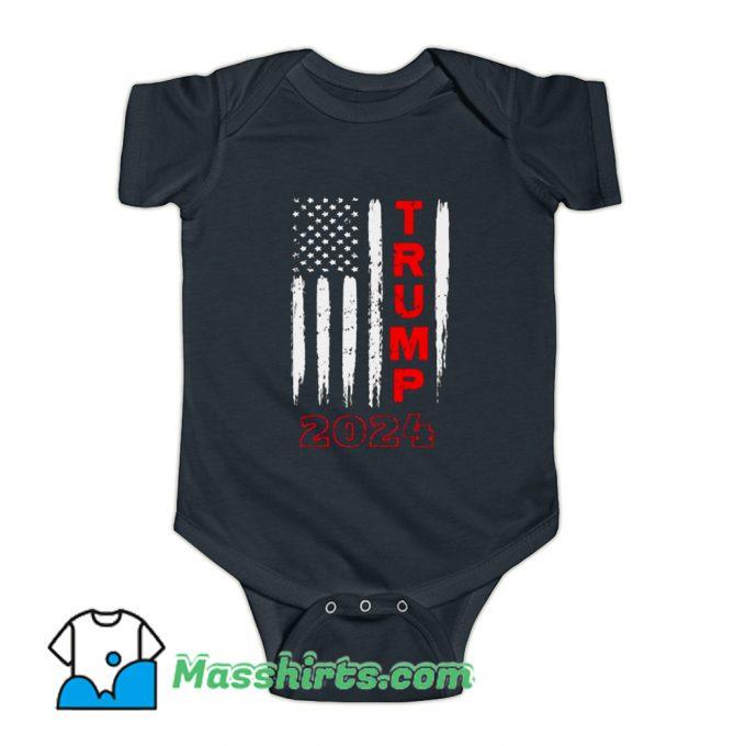 Political Trump 2024 American Flag Baby Onesie