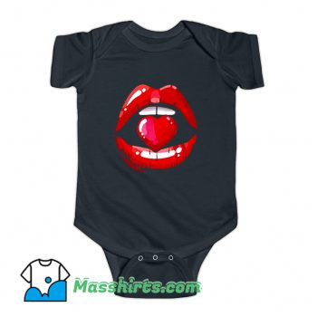 Red Mouth Lip Kiss Girl Baby Onesie