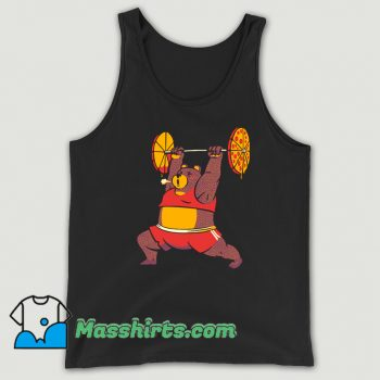 Awesome Squat Bear Gym I Love to Eat Pizza Tank Top