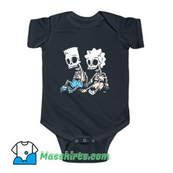 Cheap The Simpsons Bart and Lisa Skeletons Baby Onesie