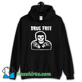 Skull Drug Free Retro 80s Hoodie Streetwear