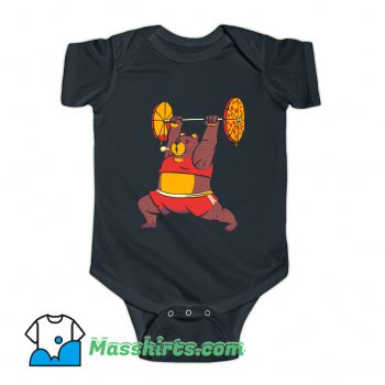 Squat Bear Gym I Love to Eat Pizza Baby Onesie