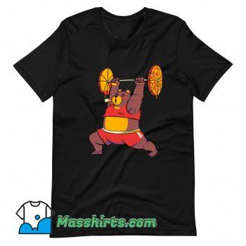 Squat Bear Gym I Love to Eat Pizza Funny T Shirt Design