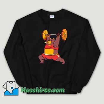 Squat Bear Gym I Love to Eat Pizza Sweatshirt