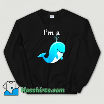 I Am A Whale Cartoon Blue Sweatshirt