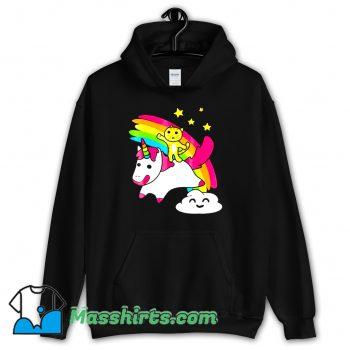 Kitty Riding A Unicorn Hoodie Streetwear On Sale