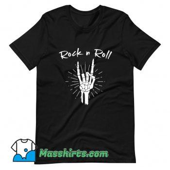 Awesome Rock N Roll Skeleton Hand Horns T Shirt Design