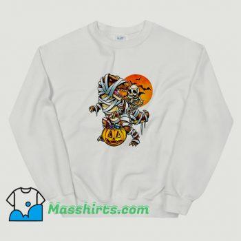 Awesome Skeleton Dinosaur Halloween Mummy Pumpkin Sweatshirt