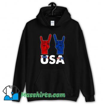Cool Rock And Roll Patriotic American Flag Hoodie Streetwear