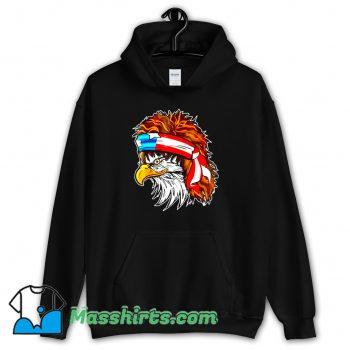 Cool Rocker Hair Eagle American Flag 80s Hoodie Streetwear