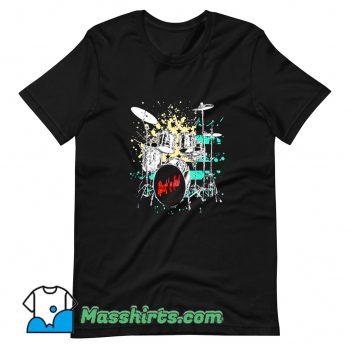 Cute Drummer Rockn Roll Drum Set T Shirt Design