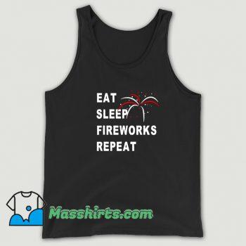 Eat Sleep Fireworks Repeat 4Th Of July Vintage Tank Top