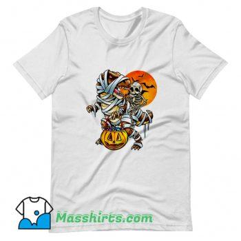 Funny Skeleton Dinosaur Halloween Mummy Pumpkin T Shirt Design