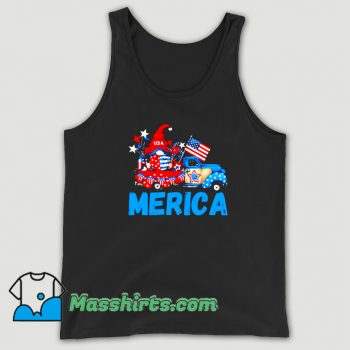 Merica 4Th Of July Patriotic Truck Gnome Funny Tank Top