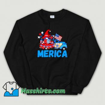 Merica 4Th Of July Patriotic Truck Gnome Sweatshirt On Sale