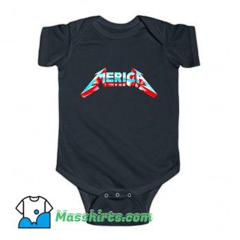 Metal Merica Rocks July 4Th Baby Onesie