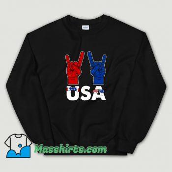 New Rock And Roll Patriotic American Flag Sweatshirt