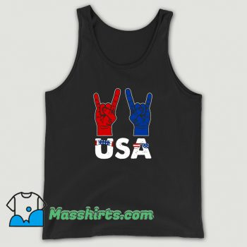 Rock And Roll Patriotic American Flag 4Th Of July Tank Top