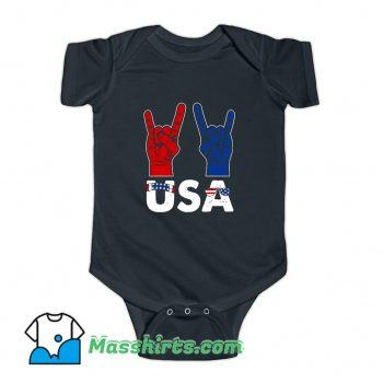 Rock And Roll Patriotic American Flag Baby Onesie