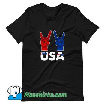 Rock And Roll Patriotic American Flag Classic T Shirt Design