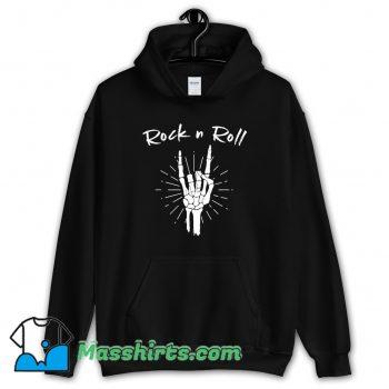 Rock N Roll Skeleton Hand Horns Funny Hoodie Streetwear