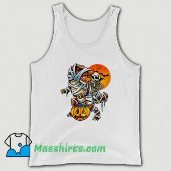 Skeleton Dinosaur Halloween Mummy Pumpkin Tank Top