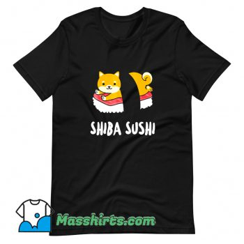 Vintage Cartoon Shiba Sushi T Shirt Design
