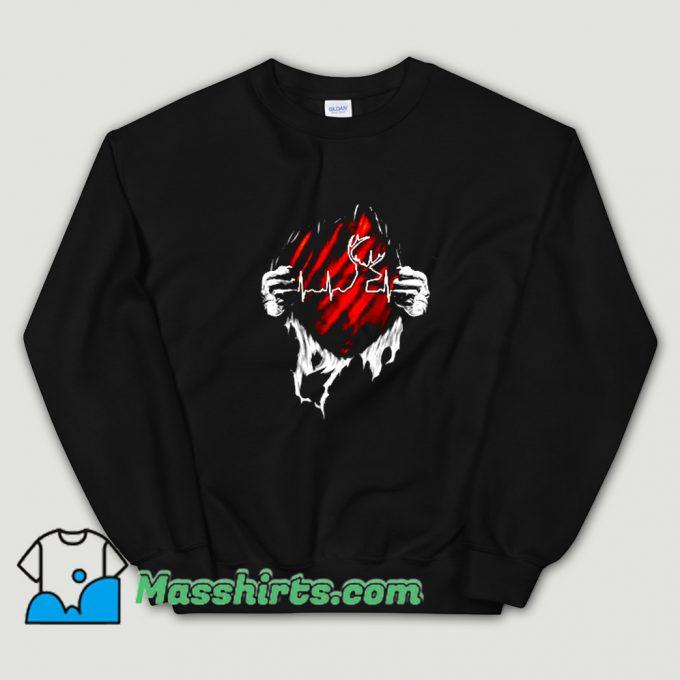 Awesome Hunting Deer Heartbeat Sweatshirt