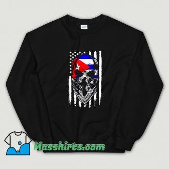 Funny Skull Patria Y Vida Cuba Usa Flag Sweatshirt