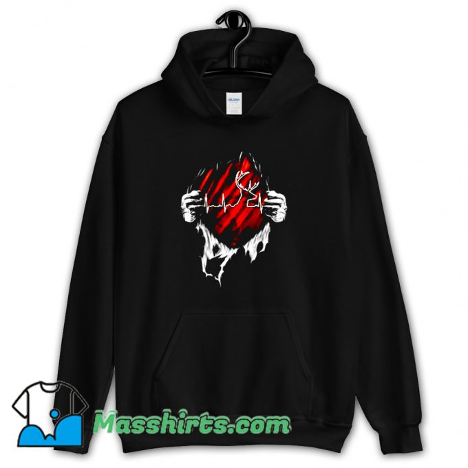 Hunting Deer Heartbeat Hoodie Streetwear On Sale