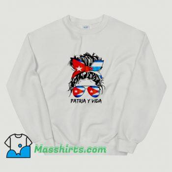 Patria Y Vida Sos Cuba Flag Messy Hair Sweatshirt