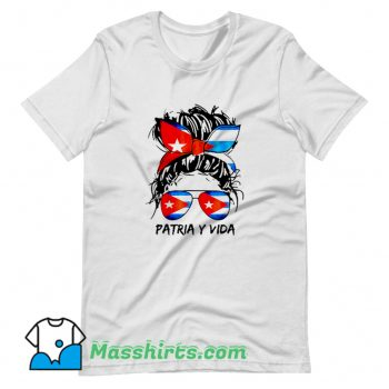 Patria Y Vida Sos Cuba Flag Messy Hair T Shirt Design