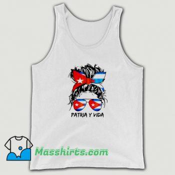 Patria Y Vida Sos Cuba Flag Messy Hair Tank Top