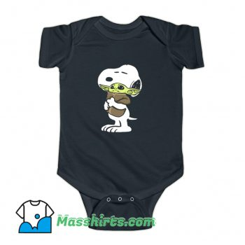 Snoopy Hugging Baby Yoda Star Wars Baby Onesie