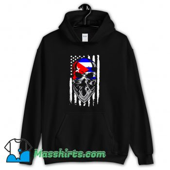 Vintage Skull Patria Y Vida Cuba Usa Flag Hoodie Streetwear
