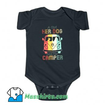 A Girl Her Dog and Her Camper Baby Onesie