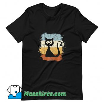 Awesome Cartoon Cat Silhouette T Shirt Design