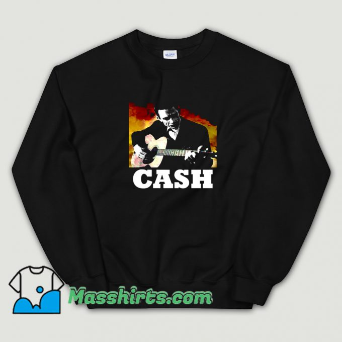 Best Johnny Cash Playing Guitar Sweatshirt