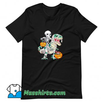 Best Skeleton Riding Mummy Dinosaur Halloween T Shirt Design