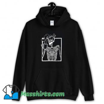 Cheap Skeleton Drinking Coffee Hoodie Streetwear