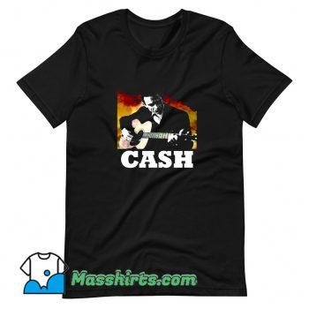 Classic Johnny Cash Playing Guitar T Shirt Design