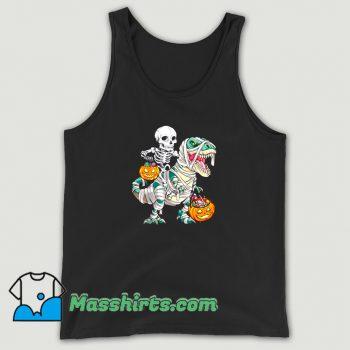 Classic Skeleton Riding Mummy Dinosaur Halloween Tank Top