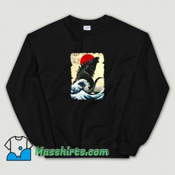 Cute Godzilla and The Wave Sweatshirt