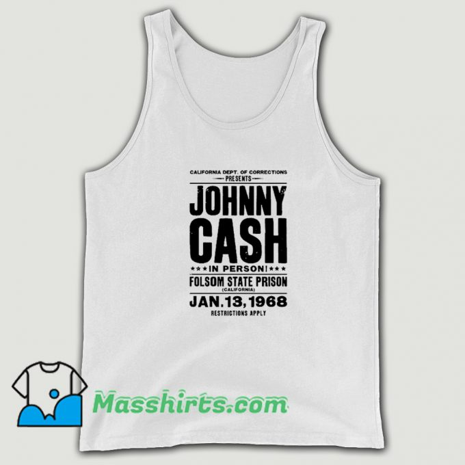 Johnny Cash In Person Folsom State Prison Tank Top