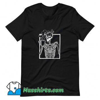 Vintage Skeleton Drinking Coffee T Shirt Design